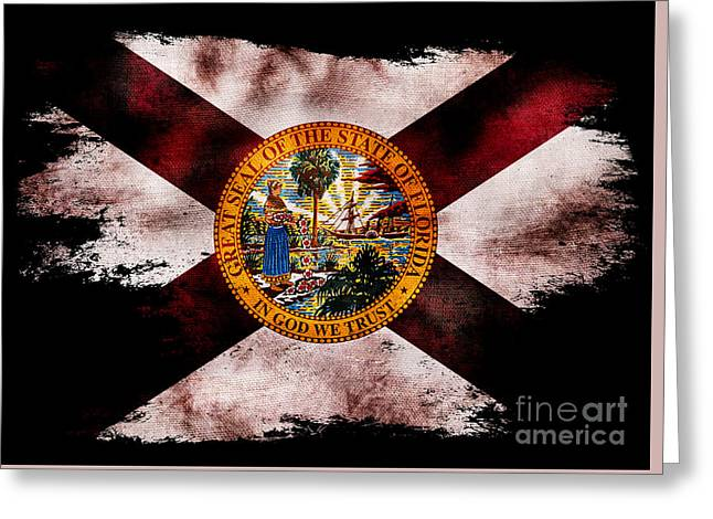 Distressed Florida Flag On Black Greeting Card by Jon Neidert