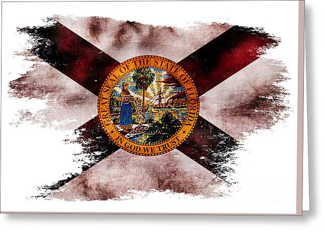 Distressed Florida Flag Greeting Card by Jon Neidert