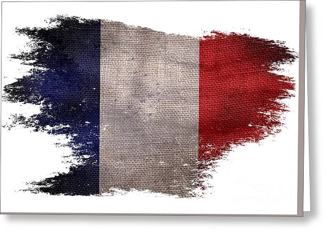 Distressed French Flag On White Greeting Card by Jon Neidert