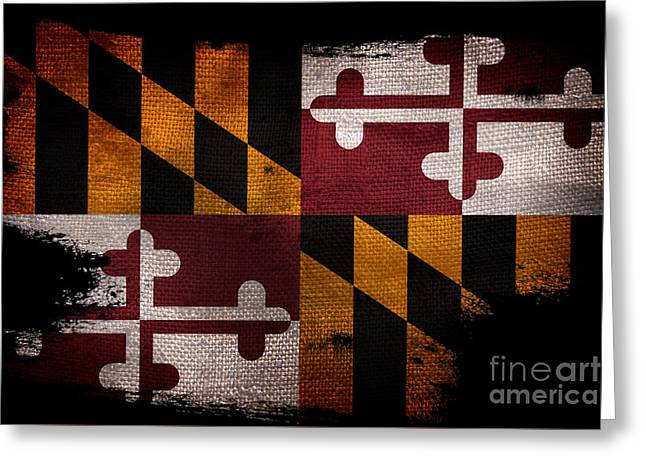 Distressed Maryland Flag On Black Greeting Card