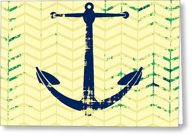 Distressed Navy Anchor Greeting Card