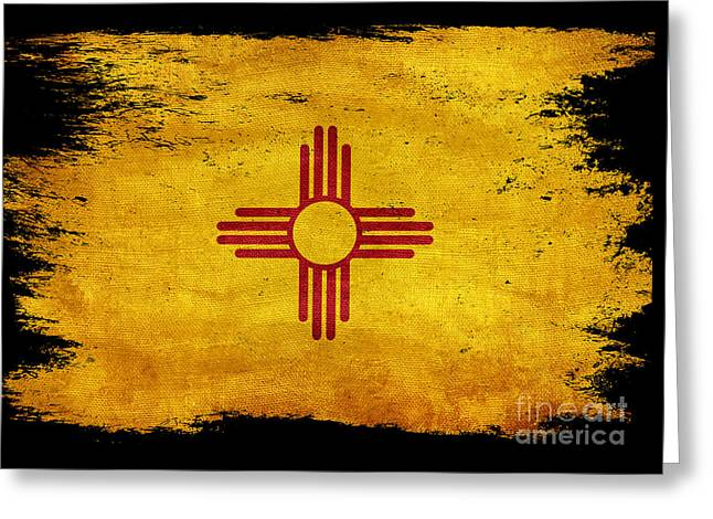 Distressed New Mexico Flag On Black Greeting Card