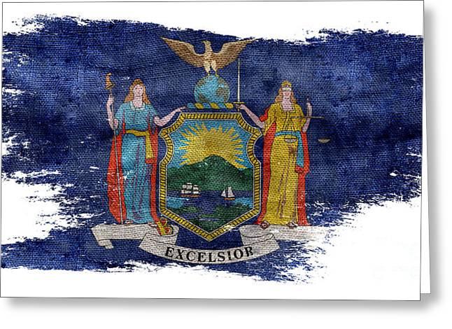 Distressed New York Flag Greeting Card by Jon Neidert