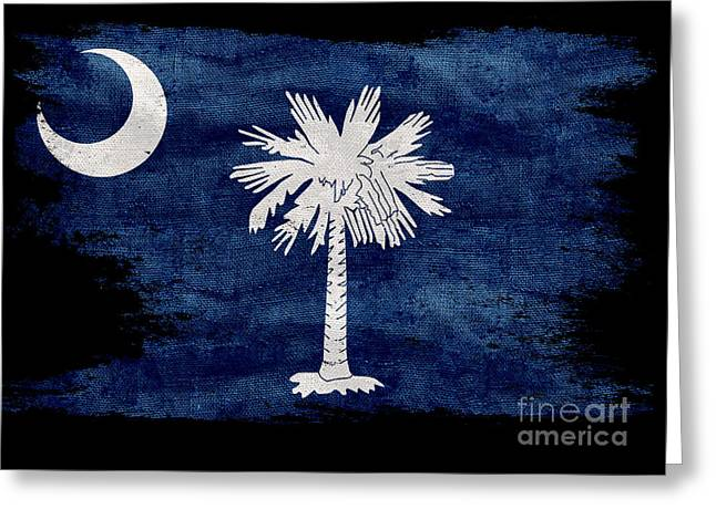 Distressed South Carolina  Flag On Black Greeting Card