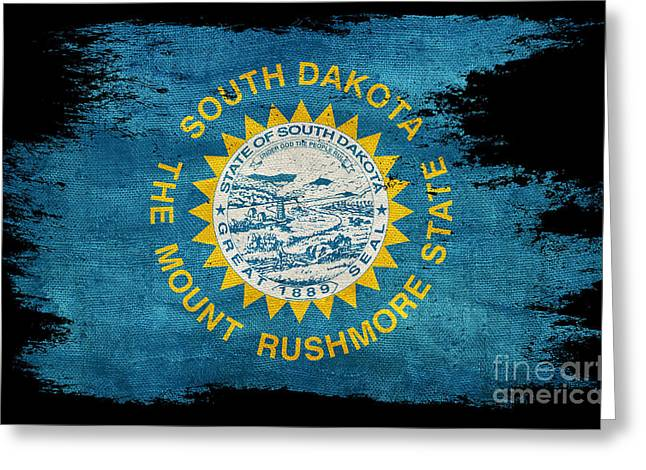 Distressed South Dakota Flag On Black Greeting Card