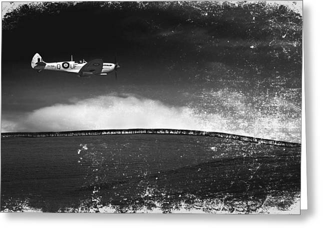 Meadow Photographs Greeting Cards - Distressed Spitfire Greeting Card by Meirion Matthias