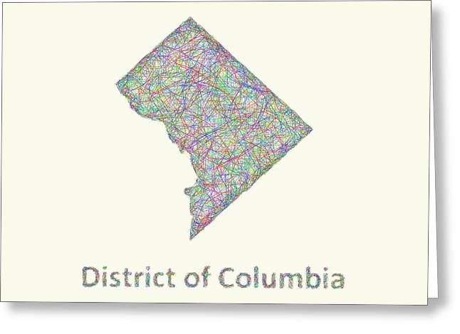 District Of Columbia Line Art Map Greeting Card