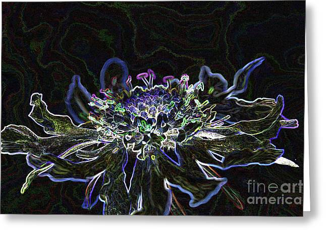 Ditigal Abstract Art Glowing Flower Greeting Card