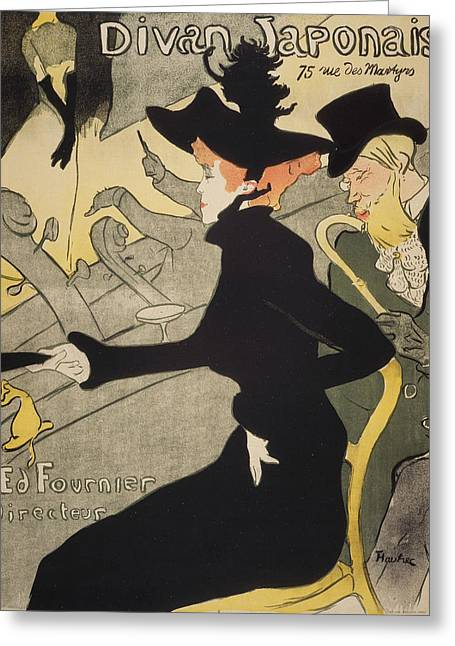 Divan Japonais Greeting Card by Henri de Toulouse-Lautrec