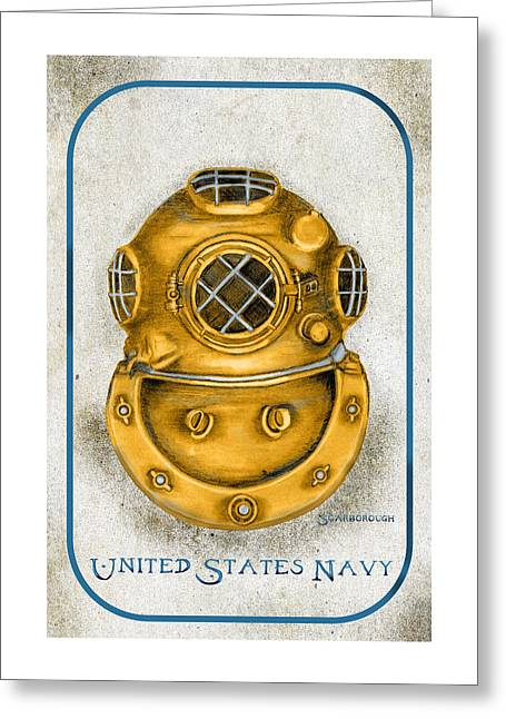 Dive Helmet Greeting Card by Larry Scarborough