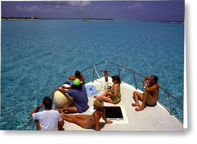 Diveboat At Little Cayman Greeting Card by Carl Purcell