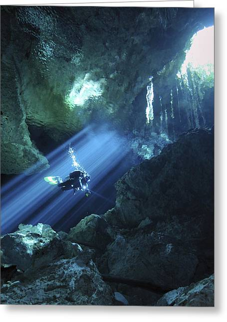 Scuba Greeting Cards - Diver Silhouetted In Sunrays Of Cenote Greeting Card by Karen Doody