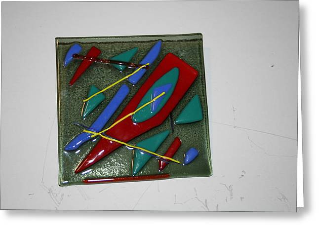 Fused Glass Art Greeting Cards - Diverge Greeting Card by Diane Morizio