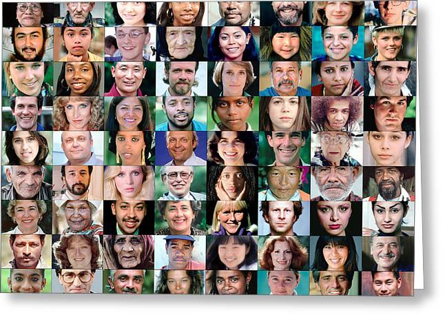 Diversity Faces Mosaic Greeting Card