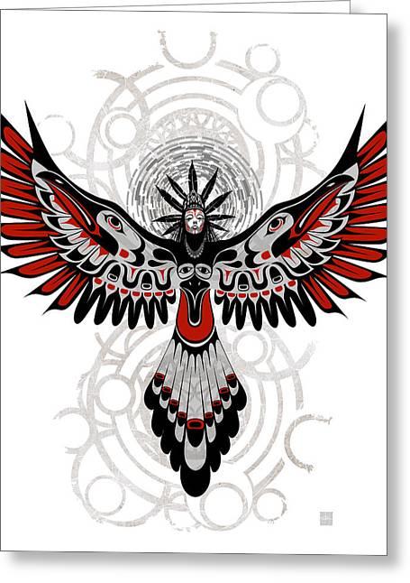 Divine Crow Woman Greeting Card