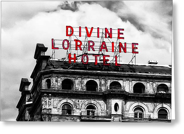 Broad Street Digital Art Greeting Cards - Divine Lorraine Hotel Marquee Greeting Card by Bill Cannon
