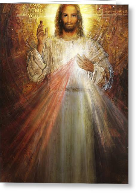 Divine Mercy, Sacred Heart Of Jesus 1 Greeting Card