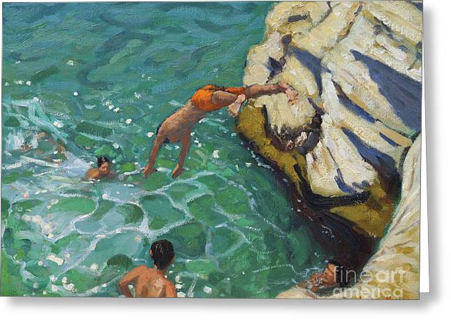 Diving And Swimming, Skiathos Greeting Card by Andrew Macara