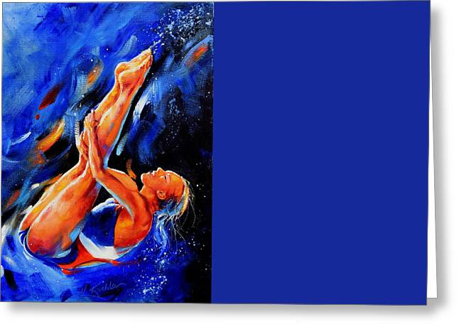 Diving Diva Greeting Card by Hanne Lore Koehler