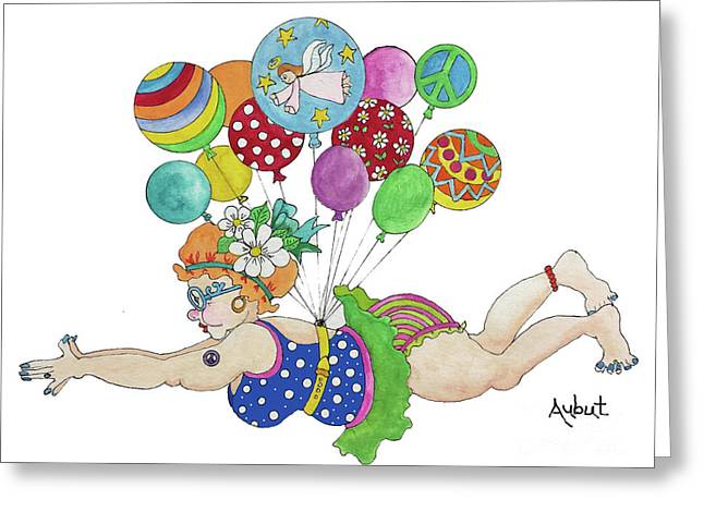 Diving For Coupons Greeting Card by Rosemary Aubut