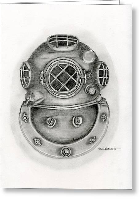 Diving Helmet Greeting Card by Larry Scarborough