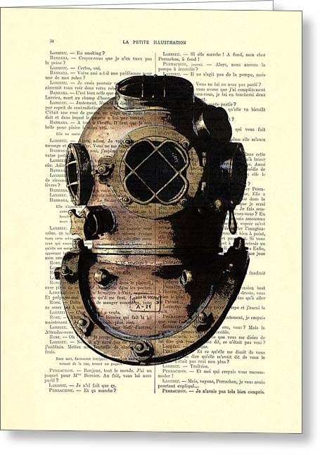Diving Helmet Greeting Card by Madame Memento