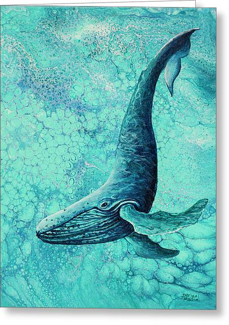 Greeting Card featuring the painting Diving Into Blue by Darice Machel McGuire