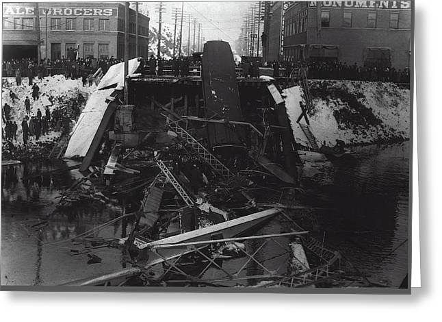 Division St Bridge Collapse - Spokane 1915 Greeting Card by Daniel Hagerman