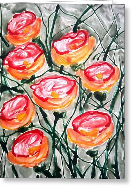 Divne Flowers Greeting Card by Baljit Chadha