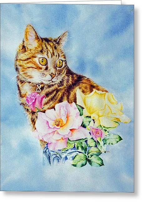 Dixie-cat Greeting Card by Nancy Newman