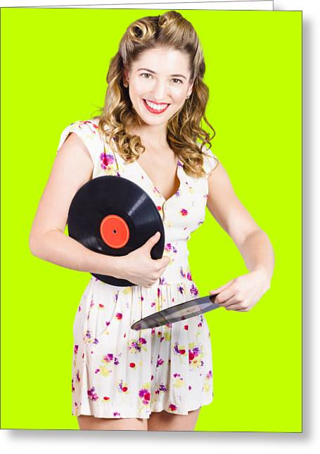Dj Disco Pin-up Girl Rocking Out To Retro Vinyl  Greeting Card by Jorgo Photography - Wall Art Gallery
