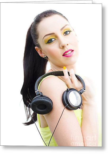 Dj Girl Greeting Card by Jorgo Photography - Wall Art Gallery