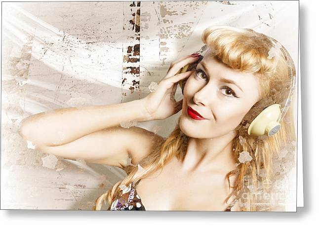 Dj Glamour Pin-up Greeting Card by Jorgo Photography - Wall Art Gallery