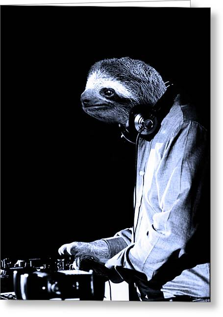 Dj Sloth Greeting Card