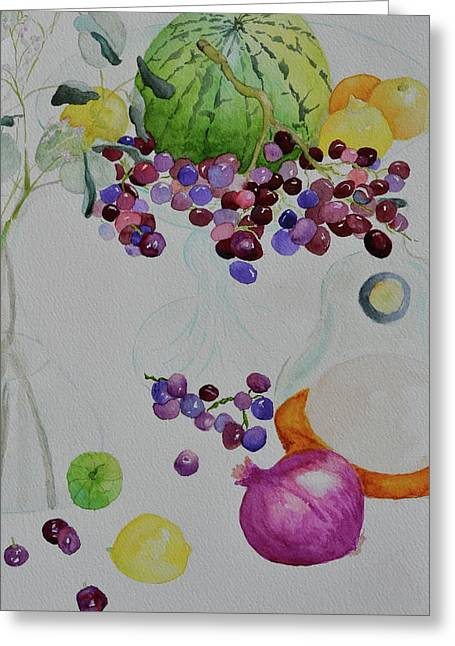 Greeting Card featuring the painting Django's Grapes by Beverley Harper Tinsley