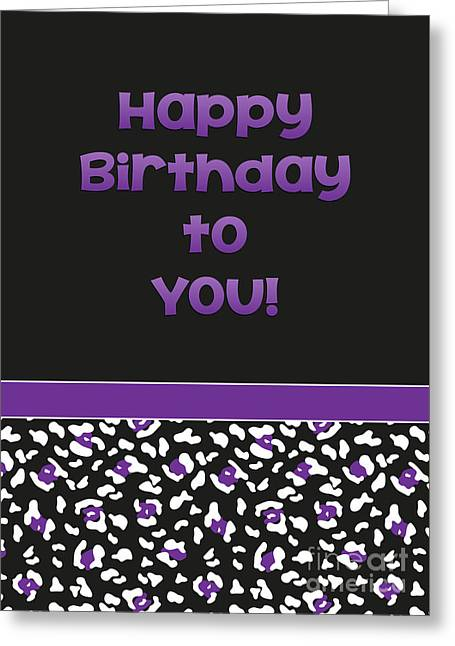 Greeting Card featuring the digital art Dk Purple Leopard Birthday by JH Designs