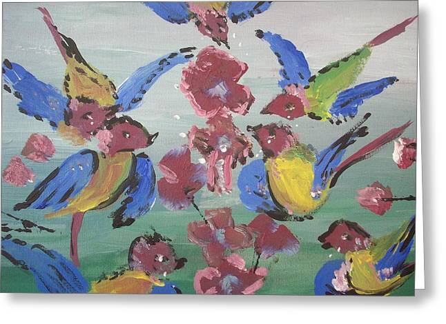 Greeting Card featuring the painting Dlyg Birdsong by Judith Desrosiers