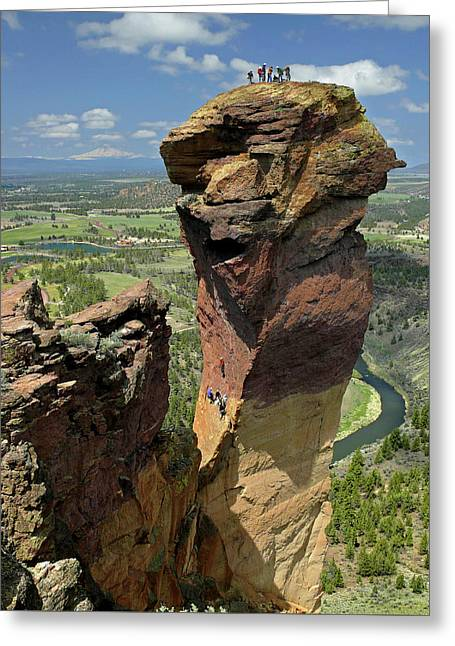 Greeting Card featuring the photograph Dm5314 Climbers On Monkey Face Rock Or by Ed Cooper Photography