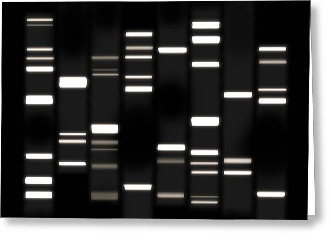 Dna Art White On Black Greeting Card by Michael Tompsett