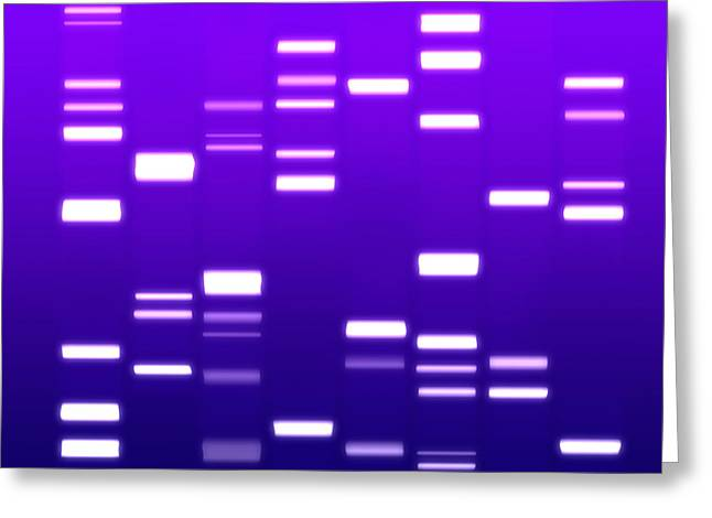 Dna Purple Greeting Card by Michael Tompsett