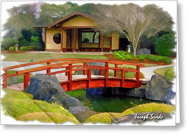 Do-00006 Cypress Bridge And Tea House Greeting Card by Digital Oil