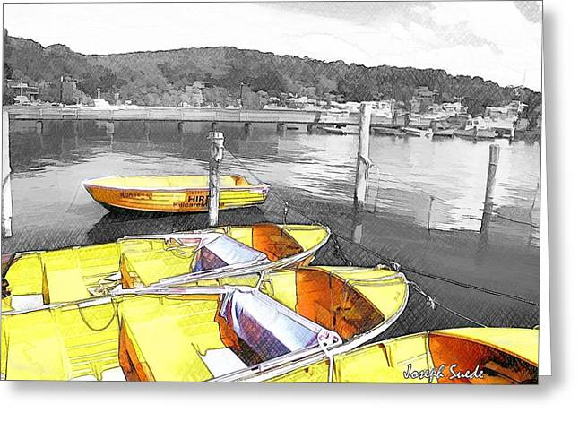 Do-00279 Yellow Boats Greeting Card by Digital Oil