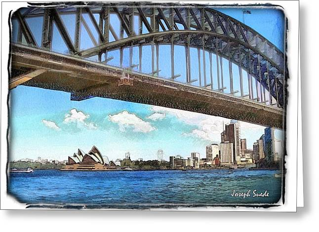Greeting Card featuring the photograph Do-00284 Sydney Harbour Bridge And Opera House by Digital Oil