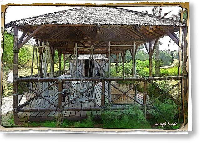 Greeting Card featuring the photograph Do-00341 Cabin Outdoor Bois Des Pins by Digital Oil