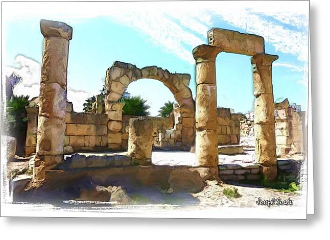 Greeting Card featuring the photograph Do-00408 Colonnades In Tyr by Digital Oil