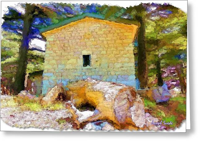 Do-00435 Building Surrounded By Cedars Greeting Card by Digital Oil