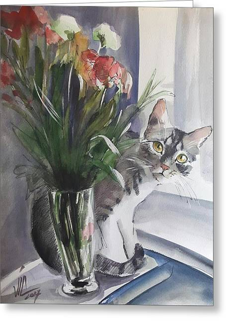 Do You See Me? Pet Portrait In Watercolor .modern Cat Art With Flowers  Greeting Card