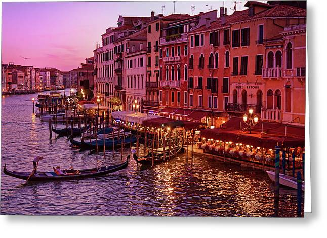 A Cityscape With Vintage Buildings And Gondola - From The Rialto In Venice, Italy Greeting Card