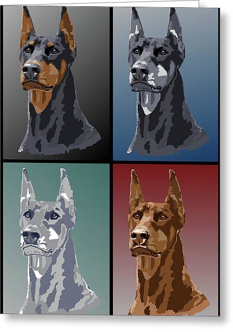 Doberman Colors Greeting Card by Kathie Miller
