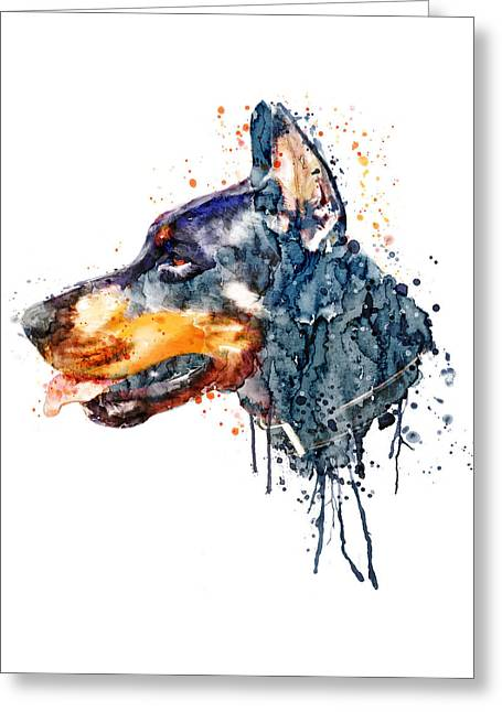 Doberman Head Greeting Card by Marian Voicu